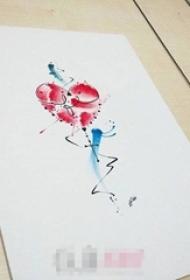 彩绘水彩创意个性心形纹身手稿