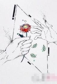 黑色线条几何元素彩绘玫瑰纹身手稿