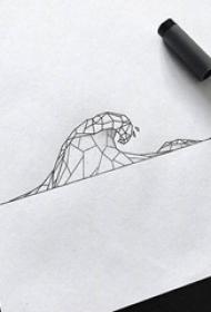 黑色线条几何元素创意海浪纹身手稿