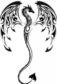 黑色线素描创意龙图腾霸气纹身手稿