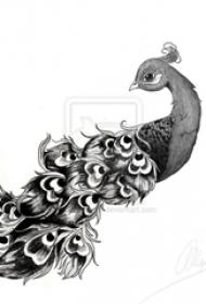 黑灰素描创意动物唯美孔雀纹身手稿