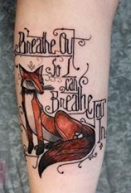 女生手臂上彩绘水彩创意狐狸纹身图片