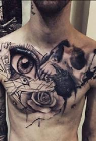 男生胸口黑灰素描创意眼睛花朵纹身图片