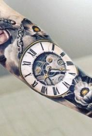 多款关于钟表的黑色素描点刺技巧精美纹身图案
