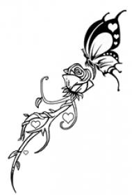 黑色线条素描创意文艺唯美蝴蝶和玫瑰纹身手稿