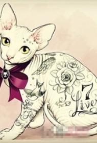 彩绘水彩创意唯美花纹可爱猫咪纹身手稿