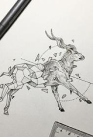 黑灰素描创意几何元素麋鹿纹身手稿
