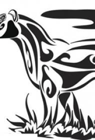 黑色线条素描创意花纹豹子纹身手稿