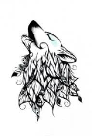 黑色线条创意文艺的唯美花纹狼头纹身手稿