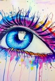 彩绘水彩泼墨唯美梦幻眼睛纹身手稿