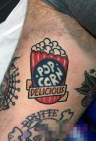 男生大腿上彩绘水彩创意可爱爆米花纹身图片