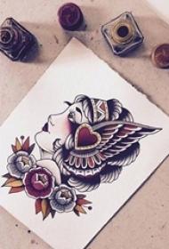 彩绘水彩创意印第安风格女生人像纹身手稿
