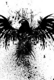 创意的黑色泼墨抽象线条小动物老鹰纹身手稿
