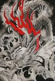 红黑素描创意霸气经典龙图腾纹身手