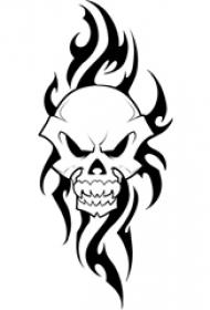 黑色素描创意骷髅图腾霸气纹身手稿