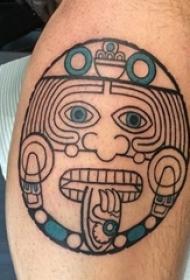 神秘的黑色几何线条玛雅部落图腾纹身图案