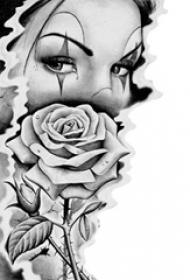 黑色素描唯美女生人像和玫瑰纹身手稿