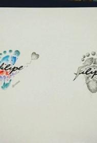 彩绘水彩描绘脚丫图案黑色线条花体英文纹身手稿