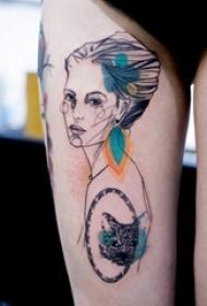 女生大腿上黑色线条创意唯美女生人像彩绘图腾纹身图片