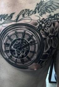 男生胸口上黑色素描点刺技巧创意钟表纹身图片