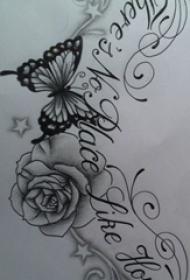 黑灰素描创意唯美蝴蝶和玫瑰纹身手稿