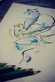 黑色线条创意小鸟水彩泼墨纹身手稿