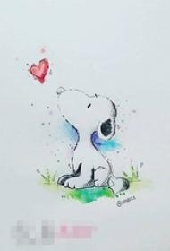 彩绘素描创意个性卡通可爱史努比小狗纹身手稿