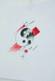 彩绘素描创意搞怪阴阳八卦纹身手稿