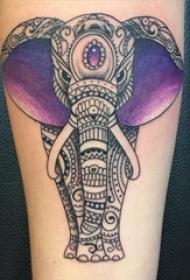 多款创意个性的唯美花纹民族风味动物大象纹身图案