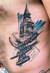 多款黑色素描点刺技巧经典建筑大本钟创意纹身图案