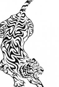 霸气的黑色抽象线条小动物老虎纹身手稿