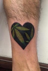 男生小腿上黑灰素描点刺技巧创意心形纹身图片