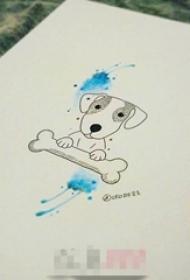 黑色线条可爱小狗水彩蓝色泼墨纹身手稿