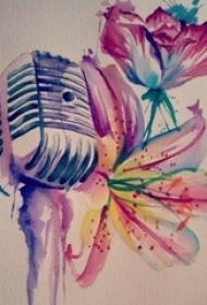 彩绘水彩泼墨唯美花朵和话筒纹身手稿