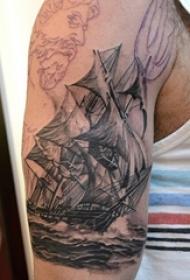 创意个性的霸气大面积帆船纹身图案