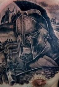 男生手臂上黑灰素描点刺技巧斯巴达纹身图片