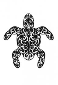 可爱的黑色几何线条小动物乌龟纹身手稿