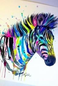 彩绘水彩泼墨活波七彩斑马纹身手稿