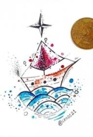 彩绘简约线条清新几何图形纹身手稿
