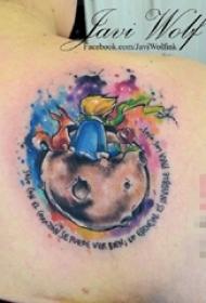 女生肩部彩绘星球英文素材和小王子纹身图片