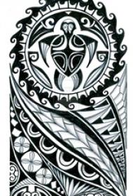 黑色素描创意图腾唯美花纹纹身手稿