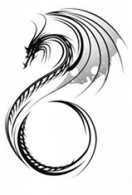 黑灰素描创意霸气龙图腾精致纹身手