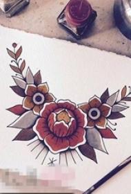 彩绘水彩创意个性文艺小清新唯美花朵纹身手稿