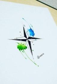 黑色线条几何元素十字架蓝绿水彩泼墨纹身手稿