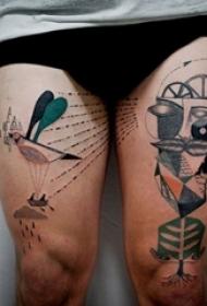 女生大腿上几何元素简单线条另类纹身图片