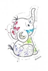 黑色线条素描卡通大象水彩泼墨纹身手稿