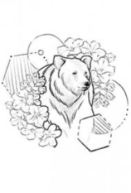 可爱的黑色简单线条花朵和熊纹身手稿