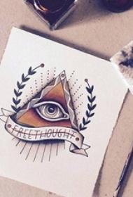 彩绘水彩创意个性几何元素眼睛纹身手稿
