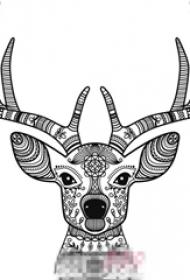 黑色线条素描创意花纹可爱麋鹿头纹身手稿