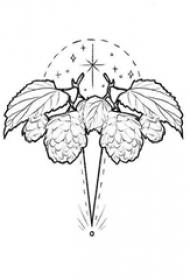 黑色线条几何元素创意树叶纹身手稿